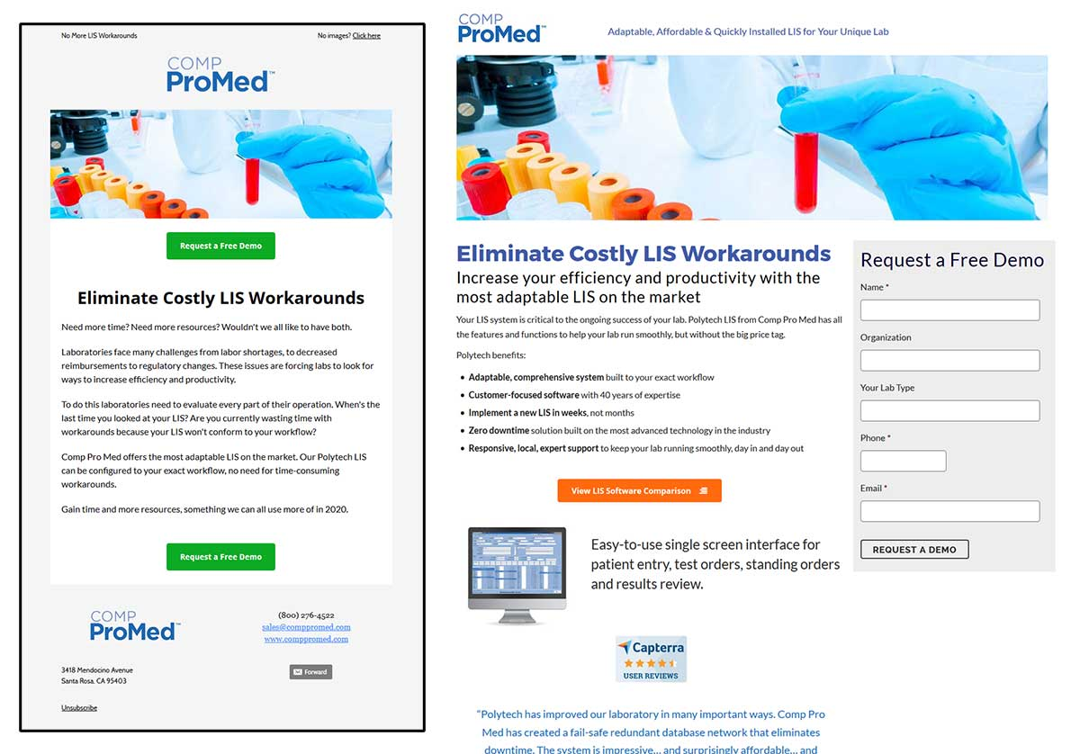 Comp Pro Med Email and Landing Page